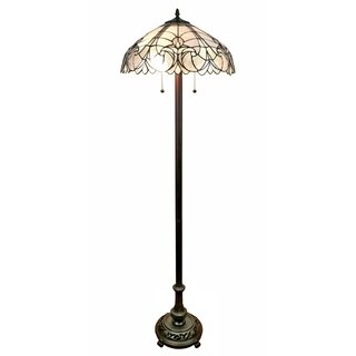 Amora Lighting AM205FL18 White Mahogany Art Glass 62-inch Tiffany Style Floral Floor Lamp