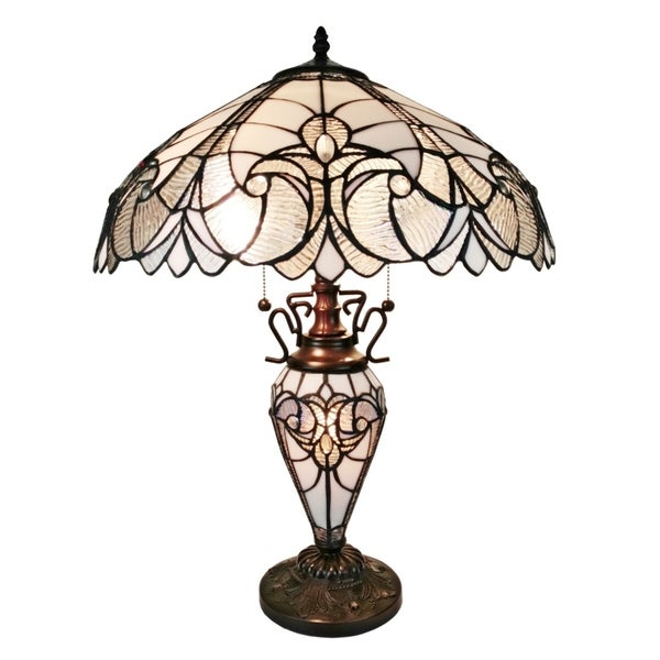 Amora Lighting White Floral Tiffany Style Double Lit Table Lamp
