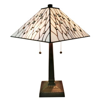 Amora Lighting AM202TL14 Jeweled 21-inch High Tiffany-style Mission Table Lamp