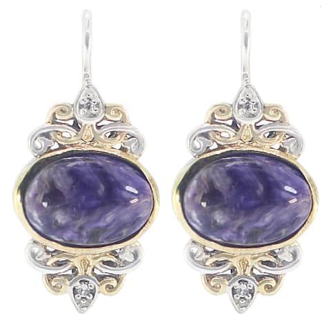 Michael Valitutti Palladium Silver Oval Charoite & White Sapphire Earrings