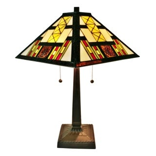 Amora Lighting AM201TL14 White/Red/Yellow/Brown Art Glass 21-inch Tiffany-style Mission Table Lamp