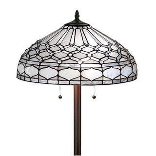 Amora Lighting AM222FL18 White Art Glass 62-inch Tiffany Style Royal White Floor Lamp