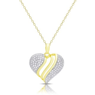 Samantha Stone Gold Over Silver Cubic Zirconia Heart Necklace