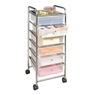 Seville Classics Frosted White 38.5-inch 6-Drawer Rolling Organizer Cart|https://ak1.ostkcdn.com/images/products/11908700/P18801239.jpg?impolicy=medium