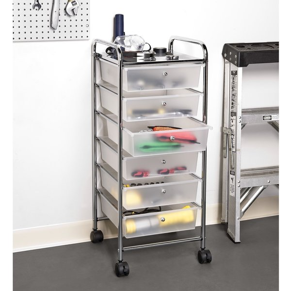 seville classics frosted white 38 5 inch 6 drawer rolling organizer cart free shipping today. Black Bedroom Furniture Sets. Home Design Ideas