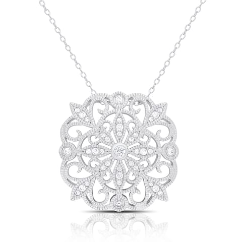 Samantha Stone Sterling Silver Cubic Zirconia Flower Medalion Necklace