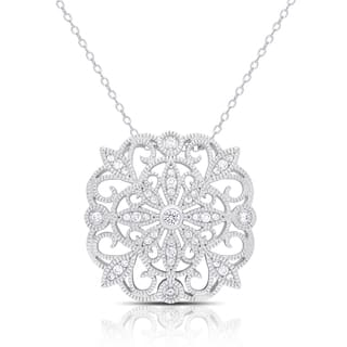 Samantha Stone Sterling Silver Cubic Zirconia Flower Medalion Necklace|https://ak1.ostkcdn.com/images/products/11908710/P18801232.jpg?impolicy=medium