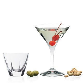Lorren Home Trends Fusion Clear Crystal Martini Gift Set (Pack of 8)