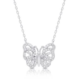 Samantha Stone Sterling Silver Cubic Zirconia Butterfly Necklace|https://ak1.ostkcdn.com/images/products/11908722/P18801233.jpg?impolicy=medium