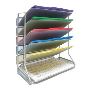 Seville Classics Silver Metal 6-Tier Mesh Legal Size Desk/Wall Organizer