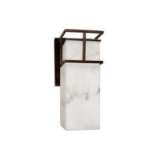Justice Design Group LumenAria Structure 1-light Dark Bronze Outdoor LED Wall Sconce, Faux Alabaster Shade