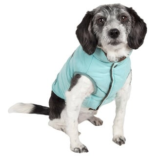 Touchdog Waggin Swag White/Grey/Orange/Brown Nylon/Polyester Reversible Insulated Pet Coat