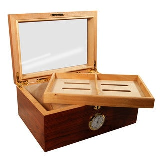 Cuban Crafters Presidente Brown Wood and Glass Top Humidor for 100 Cigars