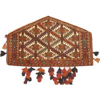 Ecarpetgallery Traditional Cream/Dark Orange Wool Hand-Knotted Turkestan Trapping (2' 3 x 3' 7)