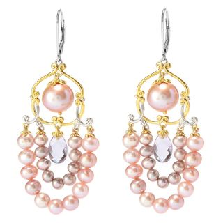 Michael Valitutti Pink Amethyst Drop and Multi Pink Pearl Earrings