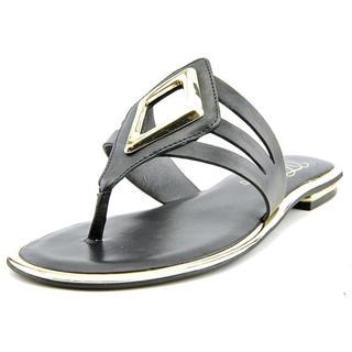 Fergie Women's Sam Black Faux Leather Flip Flop Sandals