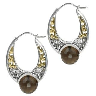Michael Valitutti Faceted Briolette Smokey Quartz and White Sapphire Earrings