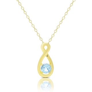 Dolce Giavonna Gold Over Silver Blue Topaz and Diamond Accent Infinity Design Necklace