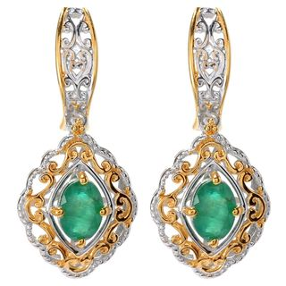 Michael Valitutti Oval Emerald Stud Earrings