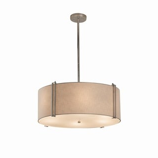 Justice Design Group Textile Reveal 6-light Polished Chrome Pendant, White Shade
