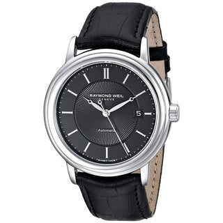 Raymond Weil Men's Black Leather/Sapphire/Stainless Steel Watch