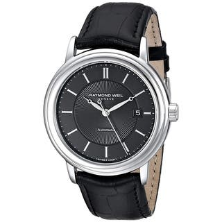 Raymond Weil Men's Black Leather/Sapphire/Stainless Steel Watch|https://ak1.ostkcdn.com/images/products/11909192/P18801657.jpg?impolicy=medium