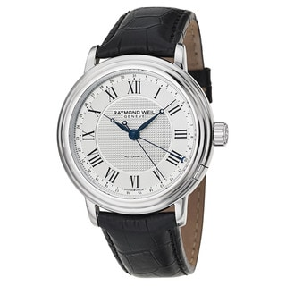 Raymond Weil Geneve Silvertone Water-resistant Watch With Black Leather Strap