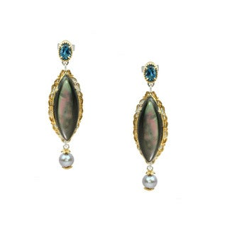 One-of-a-kind Michael Valitutti Marquise Mother of Pearl, London Blue Topaz and Pearl Stud Earrings