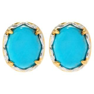 Michael Valitutti Cabochon Matrix Sleeping Beauty Turquoise Stud Earrings