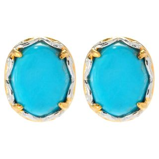 Michael Valitutti Cabochon Matrix Sleeping Beauty Turquoise Stud Earrings