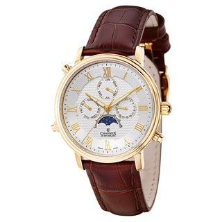 Charmex Brown Leather Swiss Quartz Sapphire Water-resistant Watch