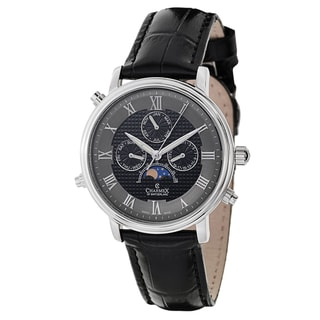 Charmex Men's Black Leather Swiss Quartz Watch