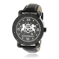 Luxurman Men's Black 0.12-carat Diamond Watch