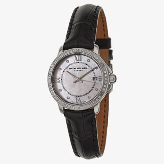 Raymond Weil Men's Black/White Leather/Sapphire/Stainless Steel Watch