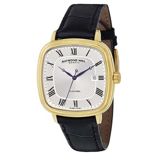 Raymond Weil Men's Black Leather Goldtone Watch