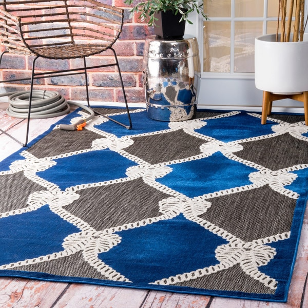 Nuloom Indoor Outdoor Nautical Ropes Porch Blue Rug 9 X