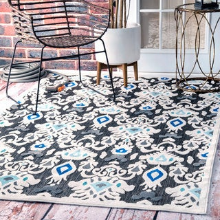 nuLOOM Indoor/ Outdoor Ikat Fancy Porch Rug (9' x 12'6)