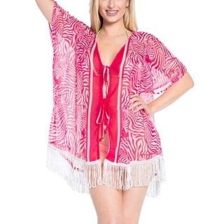 La Leela Women's Pink Lightweight Chiffon Shrug Top Kaftan Cover-up with Lace White Fringe