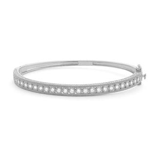 Gioelli SLZ770 Sterling Silver Milgrain Cubic Zirconia Bangle Bracelet