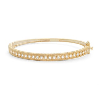 Gioelli Yellow Gold-plated Sterling Silver Milgrain Cubic Zirconia Bangle Bracelet