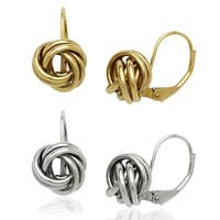 14k Yellow or White Gold Large Love Knot Attached Leverback Earrings