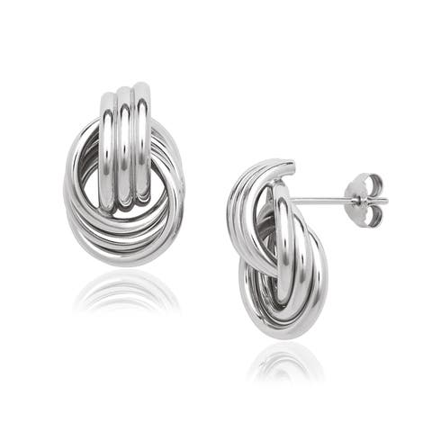 Sterling Silver Ribbed Doorknocker Post Stud Earrings - White