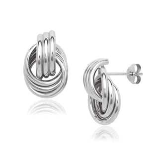 Sterling Silver Ribbed Doorknocker Post Stud Earrings