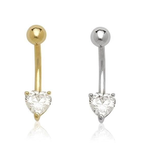 14K Solid Gold BEZEL HEART GEM Belly Button NAVEL RINGS Body Piercing Jewelry