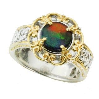 Michael Valitutti 14k Filigree Halo Ammolite Ring