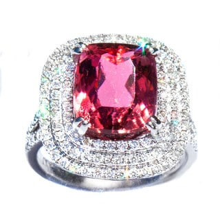 California Girl Jewelry 18k White Gold Rubeliite, Tourmaline and Diamond Ring
