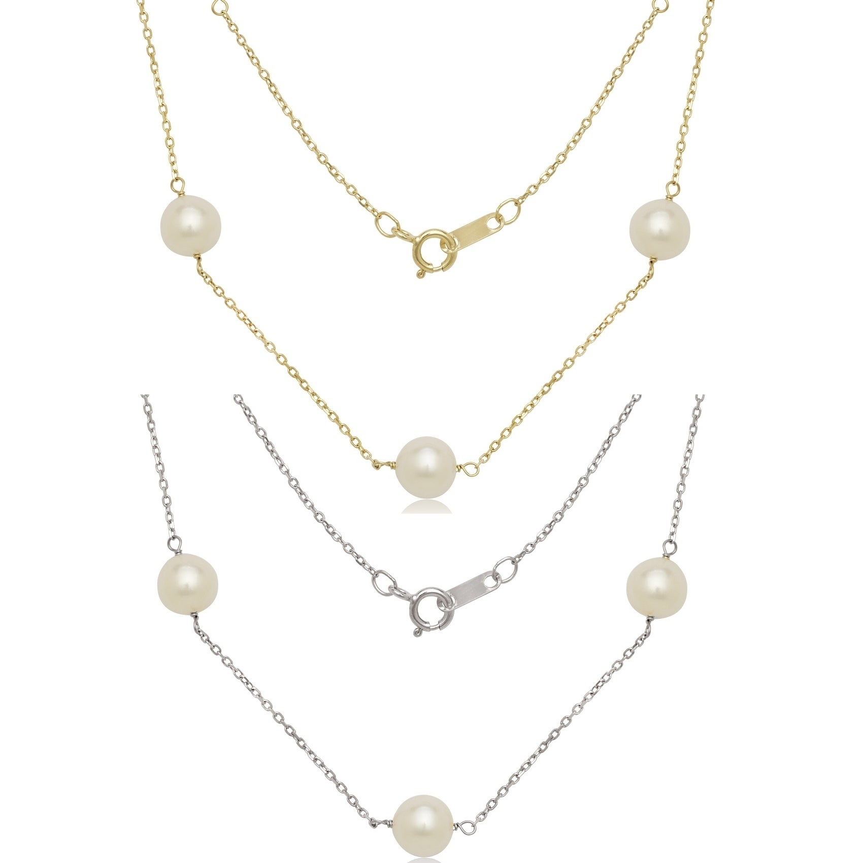 """6-7mm Black /& White Pearl 14K Yellow Gold Tin Cup Necklace 16/"""" 18/"""" or 20/"""""""