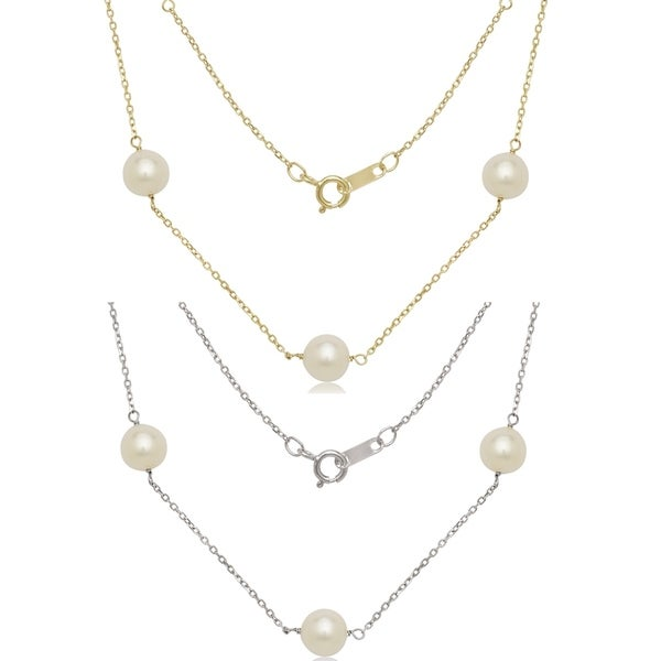 Shop Curata 14k Gold 7mm Freshwater Cultured Pearl Station