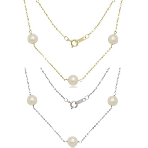 """Curata 14k Gold 7mm Freshwater Cultured Pearl Station Tin-cup Necklace (16"""" or 18"""") - White"""