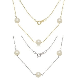 14k Gold 7mm Freshwater Cultured Pearl Tin-cup Necklace